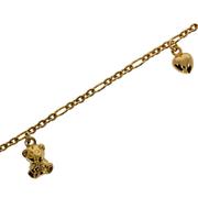 Armbånd figaro med elefant- og bamsecharms 585/-