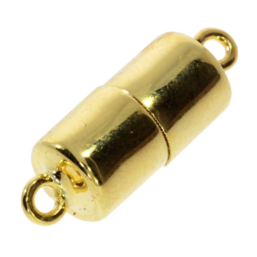 Polished cylinder-shaped magnet clasp 925/- gold-plated, 8 mm