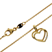 Necklace trace with double heart-shaped pendant 585/- yellow gold