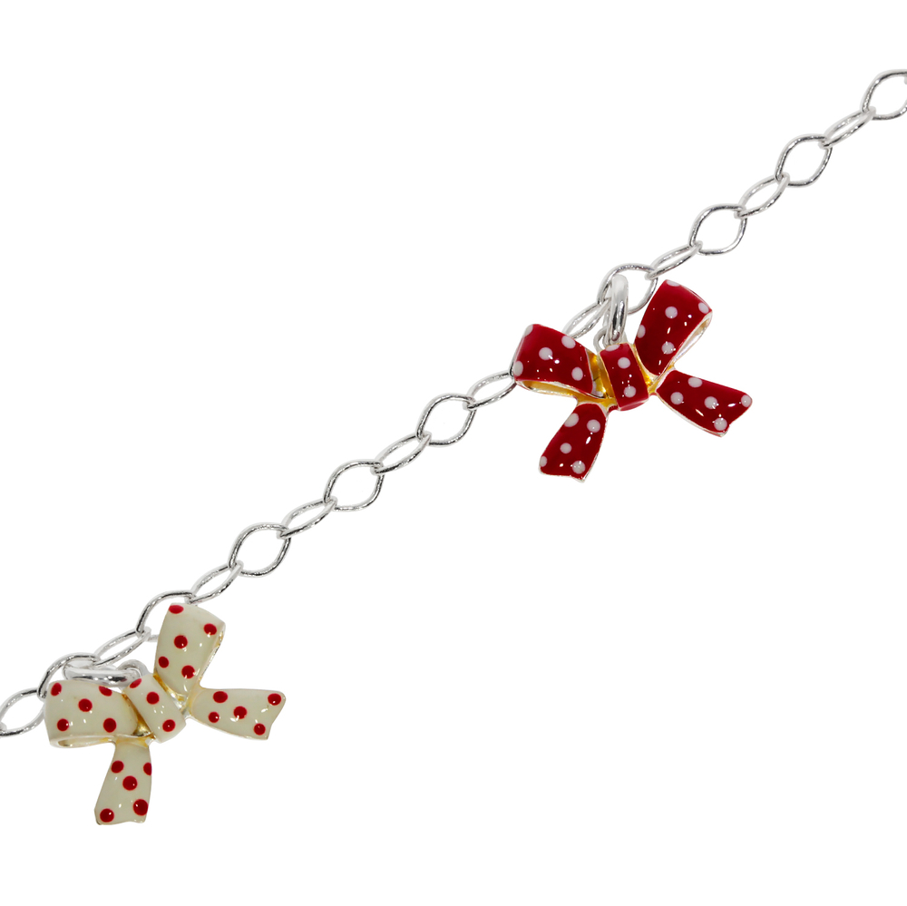 Bracelet belcher with red and white bows 925/-